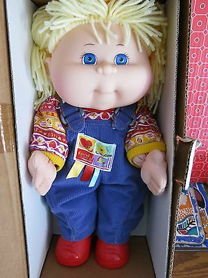 Rare CABBAGE PATCH DOLL - Blonde/ Blue Eyes in Cute Blue Overalls with Red Shoes