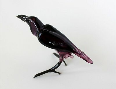 Blown Glass Raven Figurine, Russian Murano Art Hand Lampwork Crow Bird Miniature