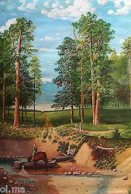 Vintage 1972 Soviet Russian Artist Original Large Oil Painting Canvas Signed Old