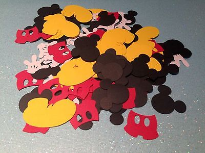 201 Mickey Mouse Confetti Birthday Party Die Cuts Head, Shoes, Pants & Gloves