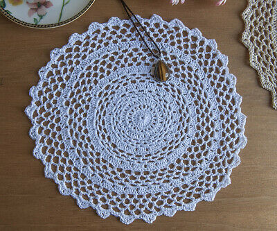 Chic 3D Flower Hand Crochet Heart Shape Cotton Doily Doilies Sachet 30CM White