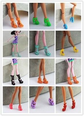 Cool Real Mix 20pcs=10pairs Different shoes For Barbie and Monster doll a101