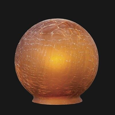 Beautiful BP 3 1/4 fitter Amber Crackle Glass Art Deco Ball Globe Lamp Shade new