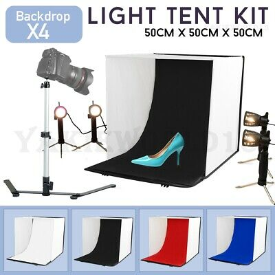 Photography 50cm Light Tent Cube Photo Studio Soft Box Lighting 4x Backdrops Kit