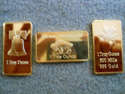 1 Troy Oz.Clad Maple Leaf , Buffalo OR Liberty Bell Art Bar IN PROTECTIVE CASES