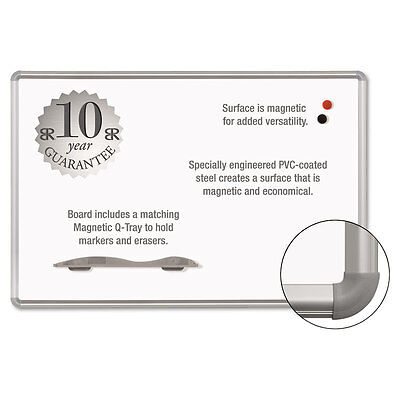 Magne-Rite Magnetic Dry Erase Board, 96 x 48, White, Silver Frame