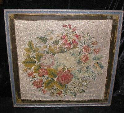 ANTIQUE VICTORIAN LARGE FLORAL BOUQUET FRAMED NEEDLEPOINT W SILVER GLASS BEADS