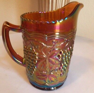 Imperial Grapes and Cable Milk Pitcher/ Marked/ Amber Base Color/ Pretty