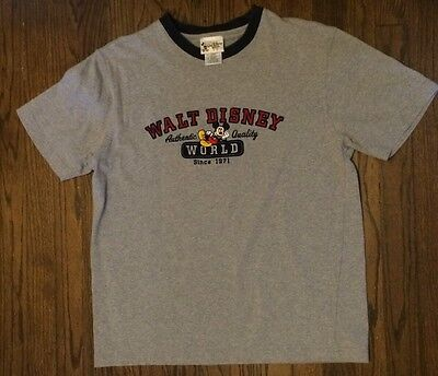 Vintage Authentic Walt Disney World Mickey Mouse Embroidered Shirt Size XL Gray