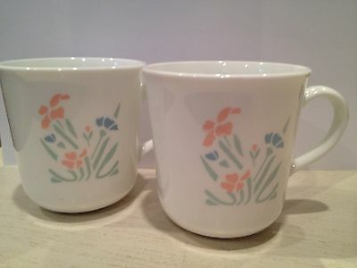 Vintage Corning Ware Coffee Mugs, Blue and Peach Flower Pattern, Set of 2.