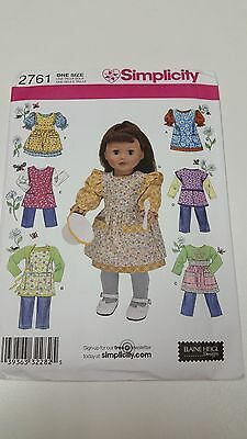 """Simplicity 2761  18"""" Girl Doll Clothes Pattern 2008 uncut   Apron Outfits"""