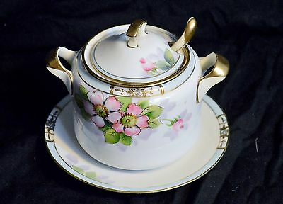 ANTIQUE HAND PAINTED NIPPON NORITAKE KOMARU SUGAR BOWL WITH PLATE AND SPOON