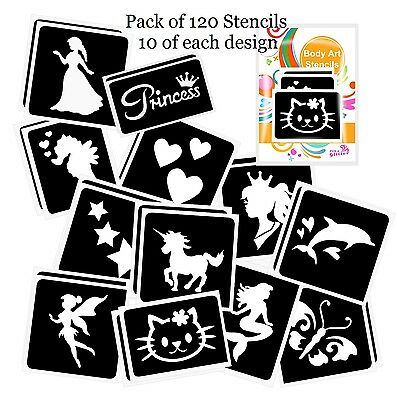 Pack of 120 GIRLS GLITTER TATTOO STENCILS for Glitter and Ink Body Art