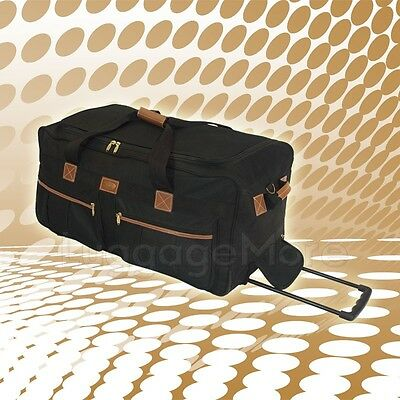 """25"""" Black Rolling Duffel Bag Wheeled Luggage Suitcase Travel Tote Duffle Bag New"""