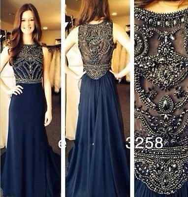 Jewel Bead Sheath Long 2015 Evening Formal Prom Party Pageant Ball Dress Gown