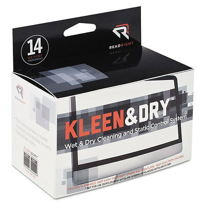 Kleen & Dry Screen Cleaner Wet Wipes, Cloth, 5 x 5, 14/Box