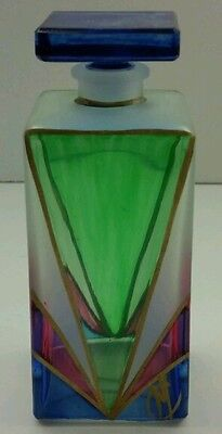 """PUNTOARTE MOSAIC ART GLASS PERFUME BOTTLE  CLEAR FROSTED BLUE & PINK ITALY 4"""""""