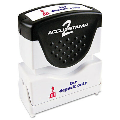 Accustamp2 Shutter Stamp with Microban, Red/Blue, FOR DEPOSIT ONLY, 1 5/8 x 1/2
