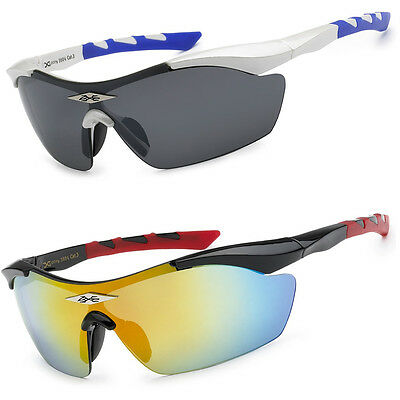 X-Loop Half Frame Mens LARGE Lens Wrap Around Sport Cycling Baseball Sunglasses