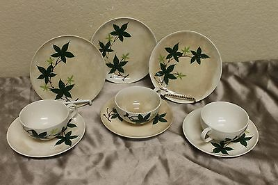 "VTG Hand painted ""IVY"" by Kanedai Japan 9 pieces Saucers Tea Cups & Plates L@@K"