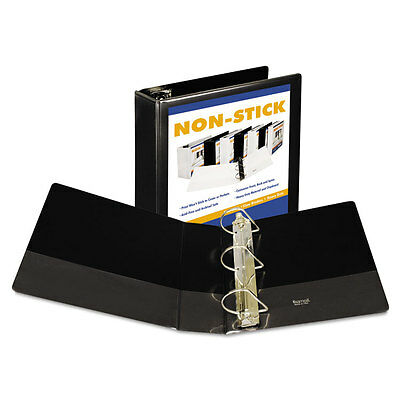Nonstick D-Ring View Binder, 11 x 8-1/2, 4'' Capacity, Black