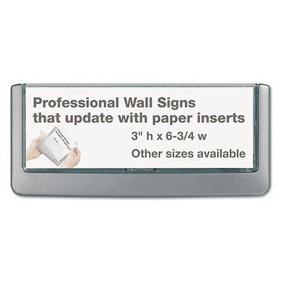 Click Sign Holder For Interior Walls, 6 3/4 x 5/8 x 3, Gray