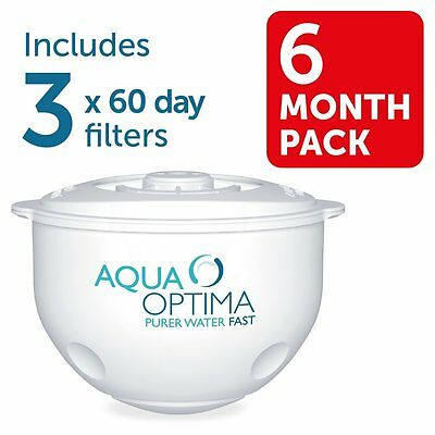 Aqua Optima 60 Day Water Filter 3 pack Replacement Refill Cartridges 6 Months
