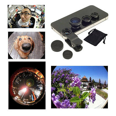 Black 3in1 Clip On Lens Fisheye 180 Wide Angle Macro Lens for iPhone Samsung LG