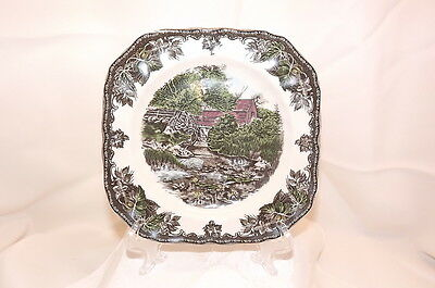 """JOHNSON BROS. """"THE FRIENDLY VILLAGE"""" 8"""" SQUARE LILY POND LUNCHEON PLATE"""