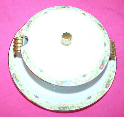 Meito China THE WINDSOR COVERED SERVING BOWL  floral multi, attached plate