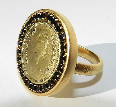 Antique Vintage Style Queen Elizabeth II Ring Gold Plated 24k Coin Ring Cz Sz 9