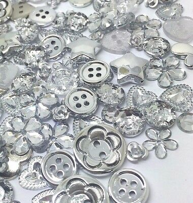 200 SILVER Buttons, Flatbacks and Embellishments Mix Cardmaking Craft