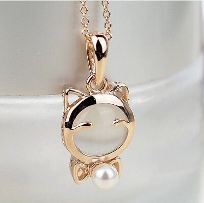 Free shipping Womens14K Yellow Gold Plated Imitation Pearl Necklace Pendant N14