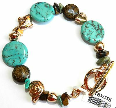 Vtg Turquoise Gemstone & Gold T Bar Bracelet Decorated With Fish Charms