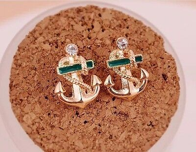 Free Shipping Womens 14K Yellow Gold Plated Anchor shape Earrings Stud E-N13