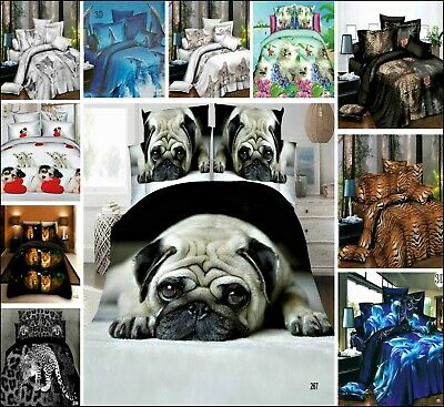 4 Pcs Complete Bedding Sets 3D Effect Duvet Quilt Cover Fitted Sheet Pillowcases
