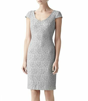 New Reiss Marjorie Lace Soft Grey Gray Silver Bodycon Cocktail Party Dress 2