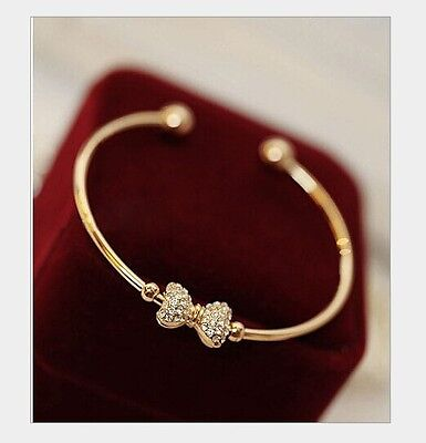 Free shipping Womens 14K Yellow Gold Plated AAA CZ Bowknot Style Bracelet N18-c