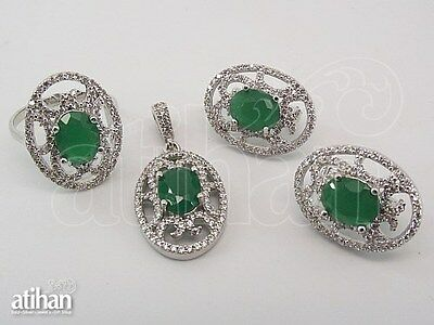 925 STERLING SILVER WOMAN'S SET EARRING PENDANT RING WITH EMERALD & WHITE CZ