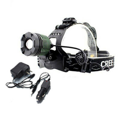 1600 Lumen CREE XM-L T6 LED Headlamp Headlight Flashlight + 2pcs AC/ DC Charger