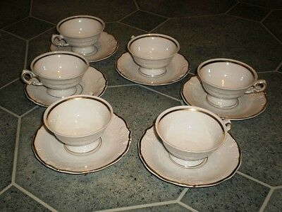 WANSEL Polish porcelain  Set of 5 small Cups and Saucers white with gold trim