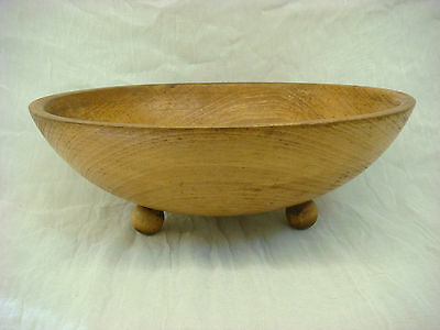 MUNISING ANTIQUE  WOODEN BOWL BALL- FOOTED 1940S SIGNED PRIMITIVE