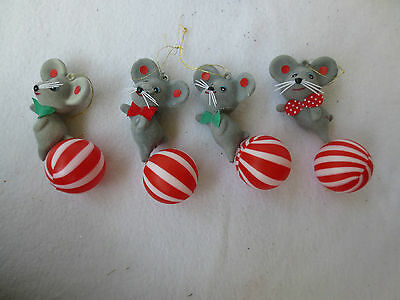Vintage Lot 4 Christmas Decorations - Velvet Mouse Mice Red white ball Ornament