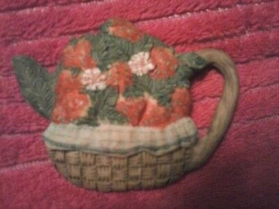 Woven Flower Basket Water Picture Refrigerator Magnet Red Green Brown Blue Nice