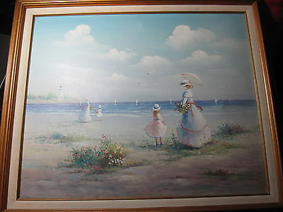 IMPRESSIONIST  PAINTING OF SHORE SCENE  MOTHER AND CHILD