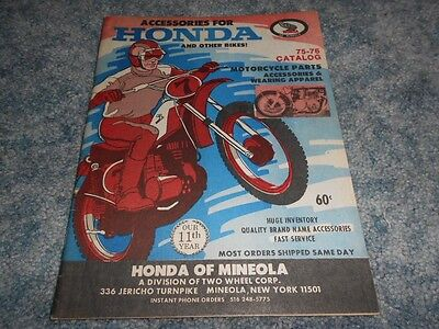 1975-1976 HONDA of MINEOLA NY MOTORCYCLE ACCESSORIES CATALOG ORIGINAL