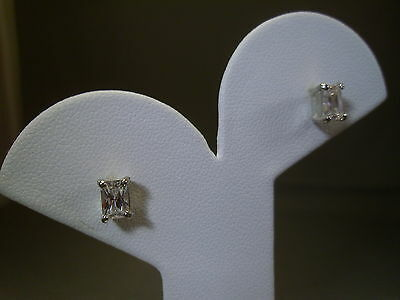 925 Sterling Silver Emerald Cut Stone Stud / Post Earrings #G-17