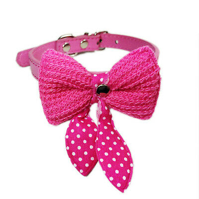 Dog Cat Pet Fashion Bow Collar,PU Leather Collar ,Rose Small Size