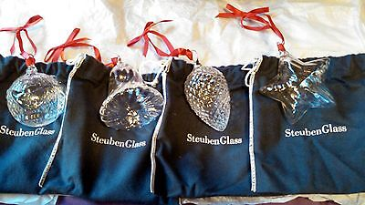 Steuben Glass Christmas Ornament Set Holiday Bell Pine Cone Star Peace on Earth