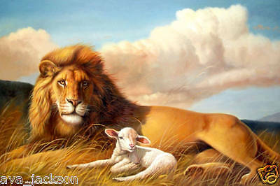 HOT! Handcraft animal Oil Painting on Canvas,Sheep and the Lion 24x36 inch